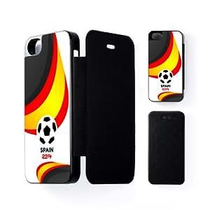 Spain Football World Soccer Team 2014 - Spanish Fans Flag II Carcasa Protectora Snap-On Negra en Formato Duro para Apple® iPhone 5 / 5s de UltraFlags + Se incluye un protector de pantalla transparente GRATIS