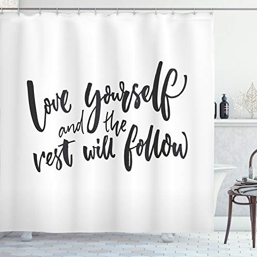 """Ambesonne Saying Shower Curtain, Love Yourself and The Rest Will Follow Motivational Phrase Wisdom Words, Cloth Fabric Bathroom Decor Set with Hooks, 70"""" Long, Charcoal White"""