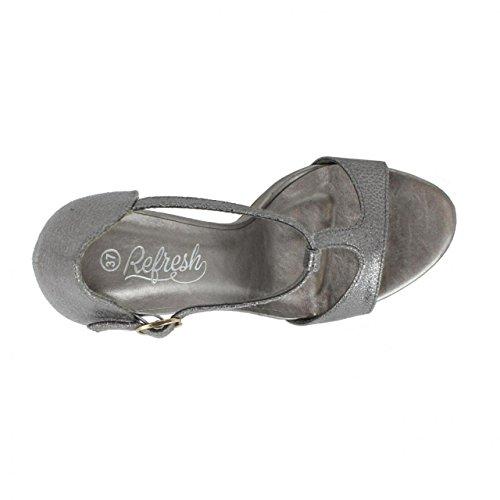 Sandalias de Mujer REFRESH 61948 METALIZADO PLOMO