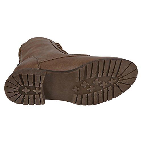 napoli-fashion Leicht Gefütterte Damen Schnürstiefeletten Freizeit Schuhe Jennika Khaki Cachi