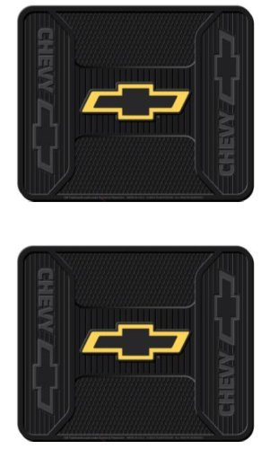 - Plasticolor Chevy Chevrolet Gold Bowtie Logo Elite Series Rear Seat Utility Rubber Floor Mats - Pair