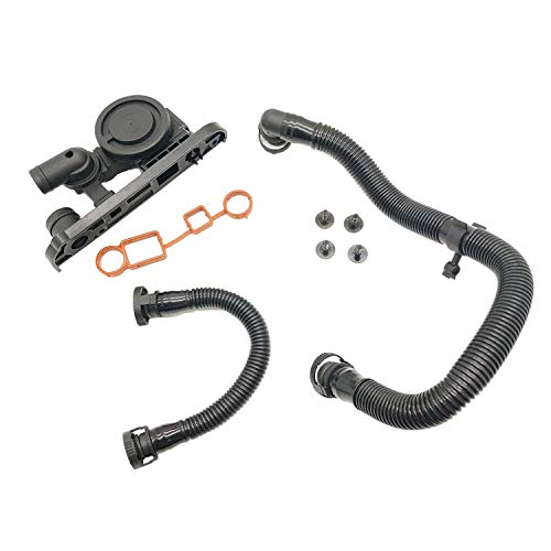 Novo Products Pcv Valve - PCV Crankcase Breather Valve +Hose + Gaskets for VW Eos Jetta GTI Audi TT A3 A4 2.0T 06F129101P