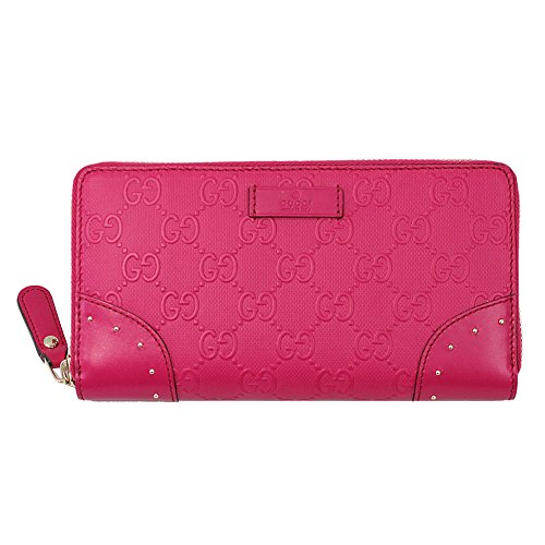 Gucci Diamante Pink Leather Long Wallet 354487 Zip Around