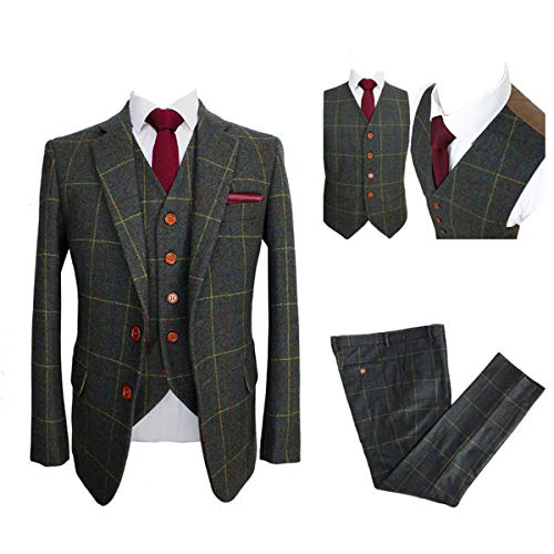 Classic Tweed Herringbone Wool Blend Men Suit 3 Pieces Check Plaid Dark Green Striped Blazer50chest/44waist