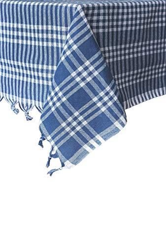 Madame Gayda Tablecloth Checkered Buffalo Check Plaid Linen Cotton Picnic Blanket Mantel Blue (Blue, 63x63 inches)