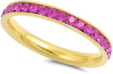 Yelllow Gold Plated Simulated Ruby Band Stainless Steel Ring Sizes 4-10