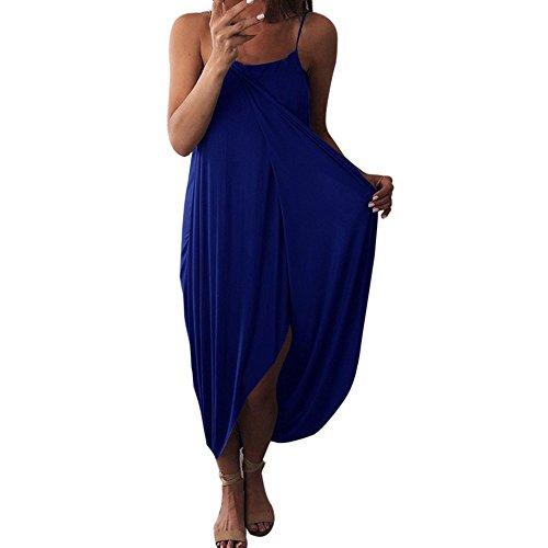 Sunhusing Ladies Solid Color Sexy Sleeveless Suspender Strap Irregular Hem Split Loose Baggy Beach Dress Blue