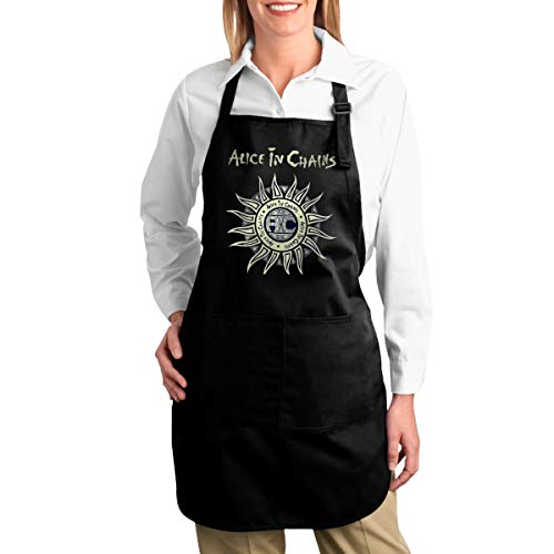 SY COMPACT Alice in Chains Adjustable Bib Apron with Pocket Extra Long Ties Kitchen Aprons for Men & Female for $<!--$33.69-->