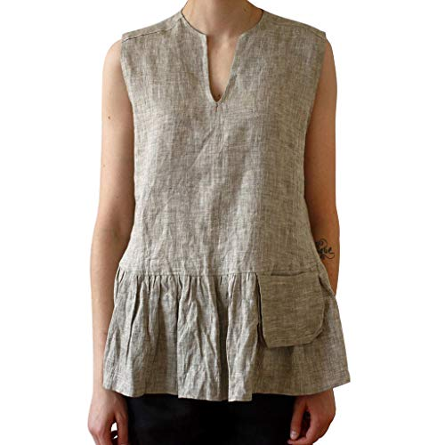 (vermers Womens Ruched Ruffles Hem Casual Tank Tops Fashion Solid V-Neck Sleeveless Vest T Shirts with Pocket(S, Gray))