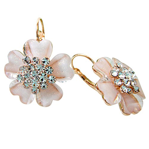 Navachi 18k Gold Plated Flower White Acatate Crystal Az1580e leverback Earrings