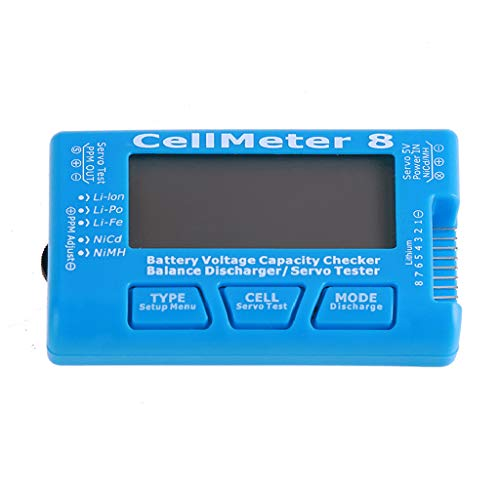 Blackcat AOK CellMeter 8 Multifunctional Digital Battery Capacity Servo Checker Tester 2S-8S One Piece (Blue)
