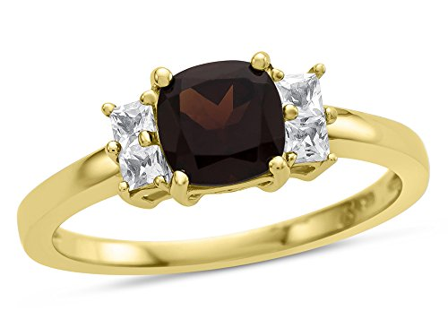 Finejewelers 6x6mm Cushion Garnet and White Topaz Ring 10 kt Yellow Gold Size 7.5 ()