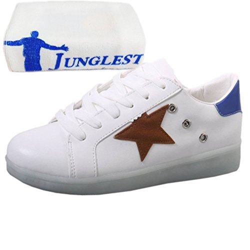 (Present:kleines Handtuch)JUNGLEST Damen Hohe Sneaker Weiß USB Aufladen LED Leuchtend Fasching Partyschuhe Sportsc c38