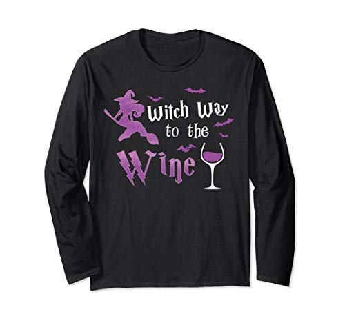 Witch Way To The Wine Funny Halloween Drinking Costume Cute Long Sleeve T-Shirt ()