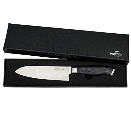 makami Premium Santokumesser aus japanischem Damaststahl VG-10 in Geschenkverpackung - HRC60 - Küchenmesser