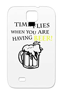 Time Flies When You Are Beer Miscellaneous Funny Yellow Cover Case For Sumsang Galaxy S4