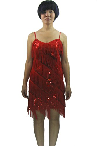 Vegas Girl Costume (Fringe 1920 Vintage Las Vegas Showgirl Costumes Accessories Dresses Clothing , Red, S/M)