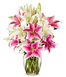 From You Flowers - White Lilies + Stargazer Lilies (Free Vase Included)