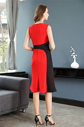 Dresses Solid Neck Dress cotyledon Slim Scoop Short Sleeveless Color Women`s wgYqqaZxE