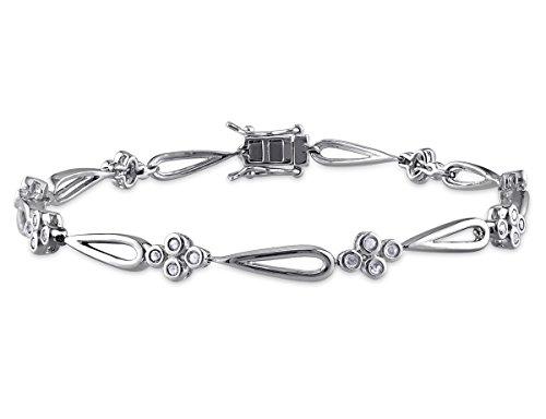 Diamond Flower Bracelet 1/2 Carat (ctw) in Sterling Silver