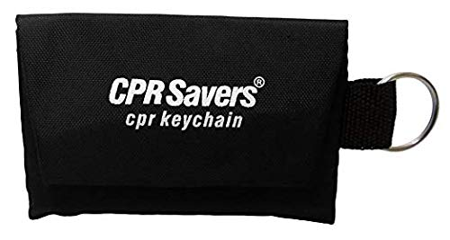 CPR Savers & First Aid Supply Face Shield and Gloves Key Chain Kit (50, Black)