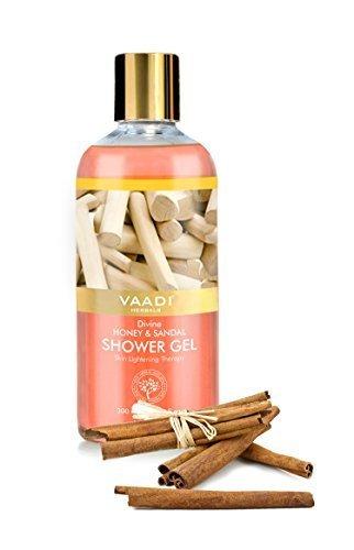 Shower Gel - Sulfate-Free - Herbal Body Wash both for Men and Women - 300 ml (10.14 fl oz) - Vaadi Herbals (Divine Honey & Sandal) (1 (Divine Honey)