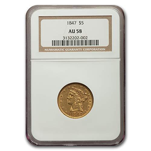 1847 $5 Liberty Gold Half Eagle AU-58 NGC G$5 AU-58 NGC