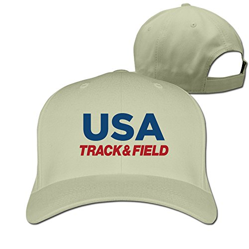 Men's USA Track & Field Athletic Adjustable Flexfit Fitted Hat Trucker Hats Natural