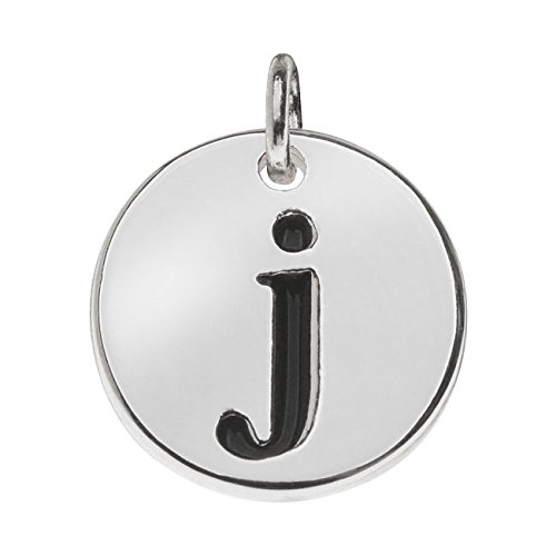 Beadaholique Lead-Free Pewter, Round Alphabet Charm Lowercase Letter 'j' 13mm, 1 Piece, Silver Plated