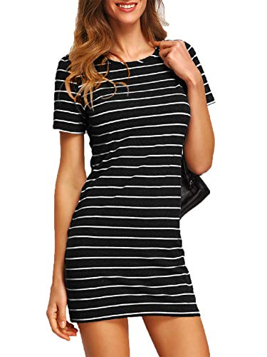 Floerns Women's Causal Short Sleeve Striped Tunic T-Shirt Dress Black and White XS ()