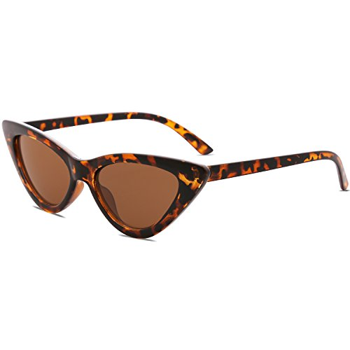 SOJOS Retro Vintage Narrow Cat Eye Sunglasses for women Clout Goggles Plactic Frame Cardi B with Tortoise Frame/Brown ()
