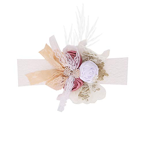 Baby Girl Flowers Headbands Newborn Photography Props Nylon Floral Crown Hair Bow Elastic Bands Infant Toddlers Kids (Pearl Rose)