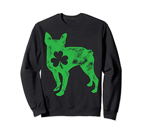 Boston Terrier St Patricks Day Sweatshirt Men Dog Shamrock (Terrier Dog Sweatshirt)
