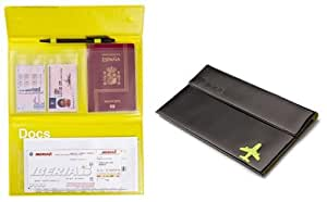 Porta documentos viaje negro PVC