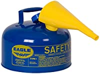 Eagle UI-25-FSB Blue with Funnel Metal Safety Gas Can, 2.5 gal Capacity by Eagle Manufacturing