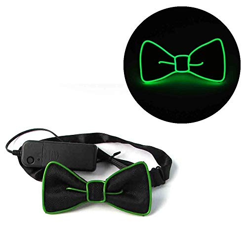 Light Up Bow Tie,LED Voice Control Glow Tie Halloween Rave Party For Men