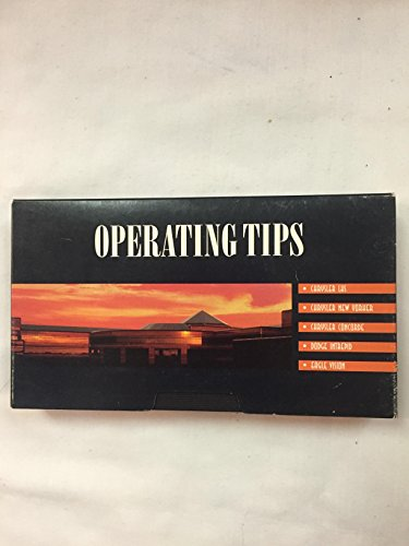 Operating Tips Chrysler Cirrus, Dodge Stratus, Plymouth Breeze