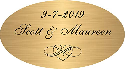 Personalized Custom Engraved, Solid Brass Plate, Brushed Satin Gold Picture Frame Name Label Art Tag, Bronze Sign, Trophy Plaques, Monogrammed Gold Nameplate, Pet Urn Memorial, Adhesive Engraved Free
