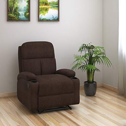 @home by Nilkamal Matt Single Seater Fabric Manual Recliner in Cocoa Finish