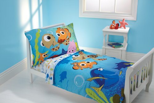 Disney 4 Piece Toddler Bedding Set, Nemo and Friends (Monsters Inc Fitted Crib Sheet compare prices)