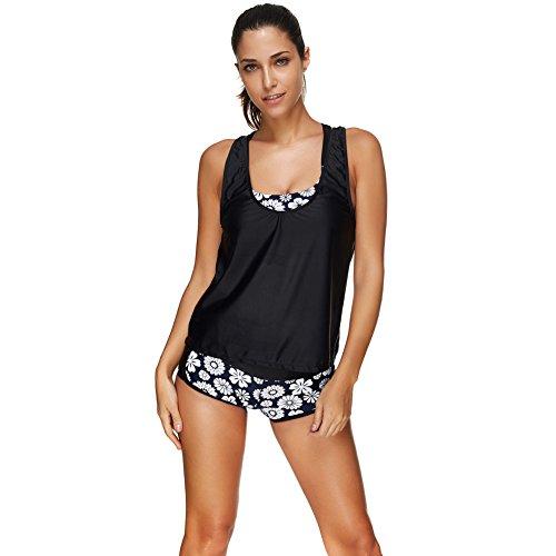 JOYMODE Women's White Floral Tank Top Three Pieces Bikini Boyshorts Beachwear