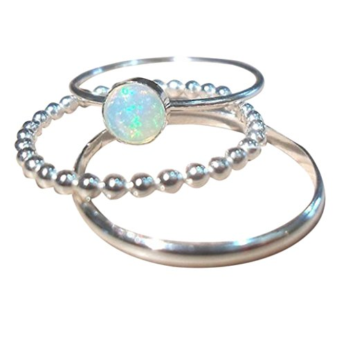 Fheaven (TM) Womne 3PC Exquisite Silver Ring Circular Cut Opal Diamond Band Rings Jewelry Gift (9)