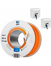 hb-digital SET 100 m CAT.7 nätverkskabel LAN nätverkskabel AWG 23 ren koppar S/FTP PiMF LSZH halogenfri RoHS-överensstämmande Ethernet PoE 10 Gbit/s 1000 MHz orange + 2 x nätverksuttag