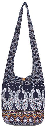 Peacock Colorful Bohemian Hobo Hippie Crossbody Shoulder Bag (DarkBlue) by All Best Thing