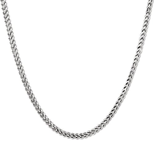 JINGRAYS 3mm Curb Chain Necklace for Men Biker Punk Style, Male Stainless Steel Chain Link, 22 inches -Silver ()