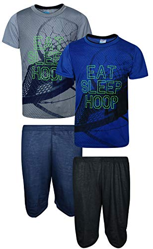 Tuff Guys Boys 4-Piece Performance Sports Themed T-Shirt and Sort Set, Eat/Sleep/Hoop, Size 7'