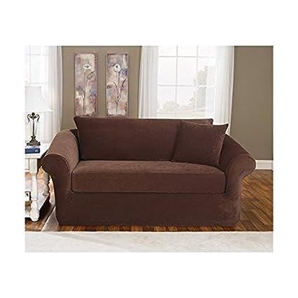Sure Fit Stretch Pique 3 Piece   Sofa Slipcover   Chocolate (SF36143)