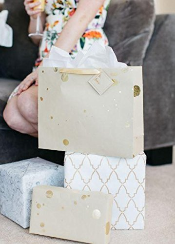 BEST LARGE LUXURY GIFT BAG: MODERN DOT GOLD PREMIUM (SET OF 3) by Marble+Vine
