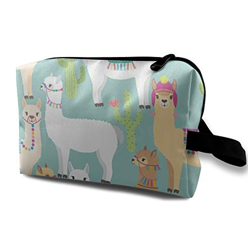 (FYGPOT Multifunction Portable Make-up Bag Llama Clipart-Alpaca Makeup Bag Sewing Kit Medicine Bag Cosmetic Bag for Home Office Travel)