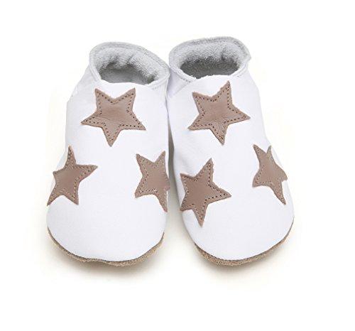 Starchild , Baby Jungen Lauflernschuhe White Shoe with Taupe Stars Size 0-6 Months UK 2 EU 18